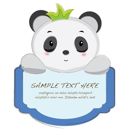 hand drawn animal frames series-panda Vector
