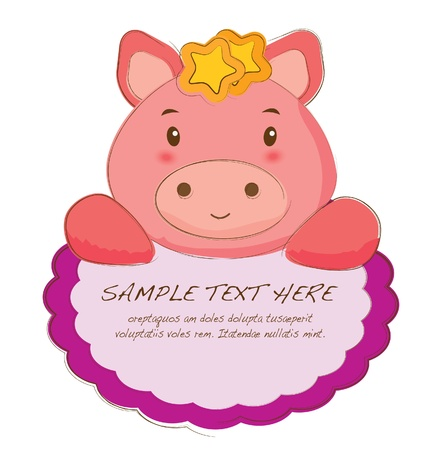 hand drawn animal frames series-piggy Vector