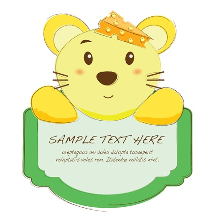 cute text box: hand drawn animal frames series-mouse
