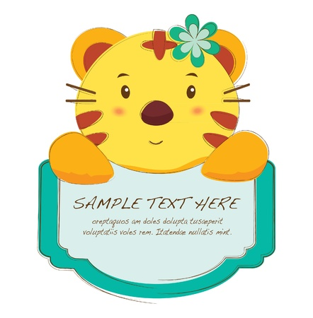 cute text box: hand drawn animal frames series-tiger