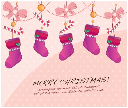 hand drawn christmas layout series-hanging socks Vector