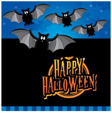 inviting: Halloween invitation card layout series -flying bats Illustration