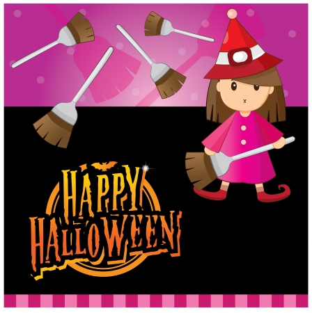 Halloween invitation card layout series -halloween girl Vector