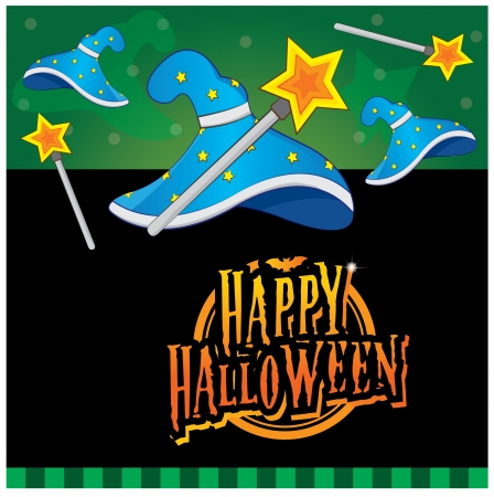 spell: Halloween invitation card layout series -wizard hat and magic wand