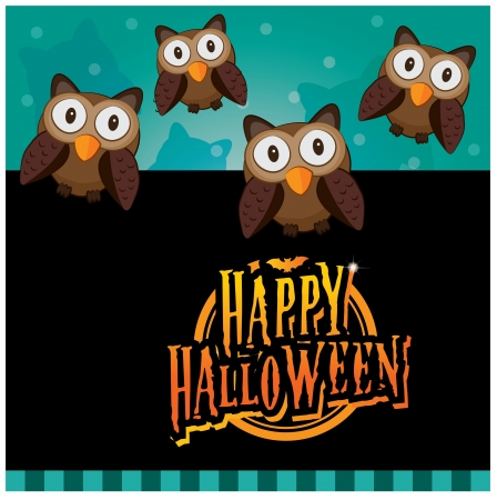 Halloween invitation card layout series -night owl Vector