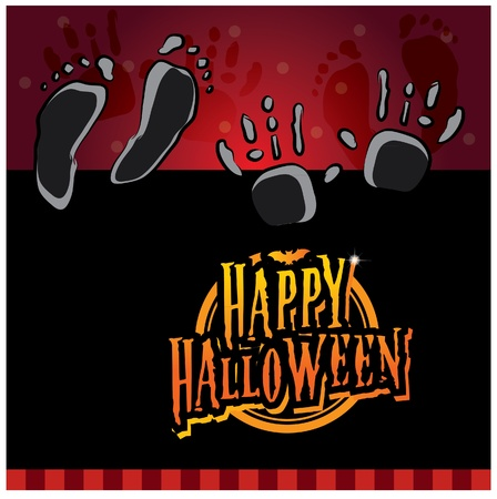 Halloween invitation card layout series -eery hand and foot prints Stock Vector - 15143907