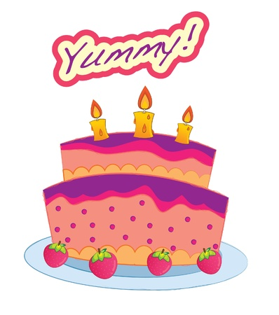 Dessert series -birthday cake Stock Vector - 15983668