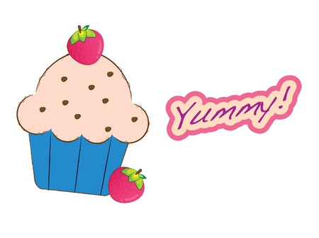 Dessert series -strawberry muffin Vector