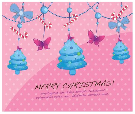 hand drawn christmas layout series-hanging christmas trees Vector