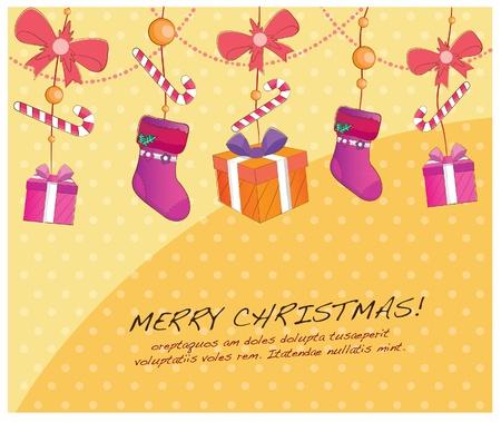 hand drawn christmas layout series-hanging presents and socks Vector