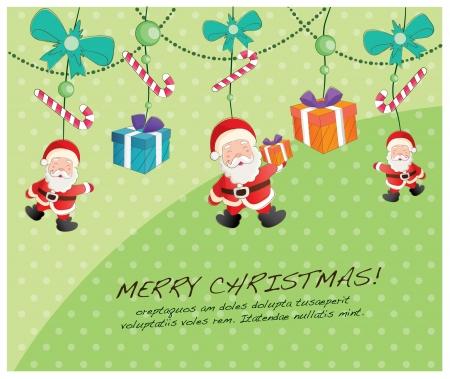 hand drawn christmas layout series-hanging santa Vector