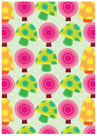 sweet background: secret garden wallpaper series -rainbow mushrooms Illustration