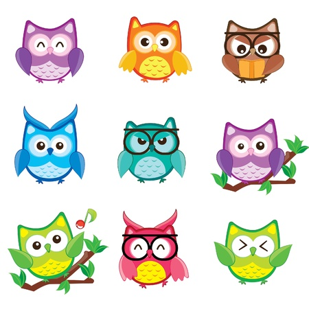 an owl: Cute and happy owl set