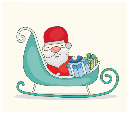 Christmas Santa with sleigh Vector