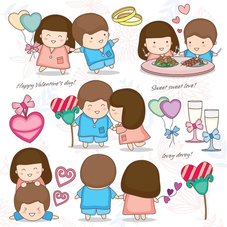 Lovely couple set Vector