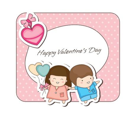 Lovey couple frames -holding balloons Stock Vector - 16934671