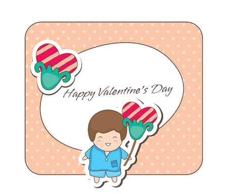 Lovey couple frames -boy with flower Stock Vector - 16923041
