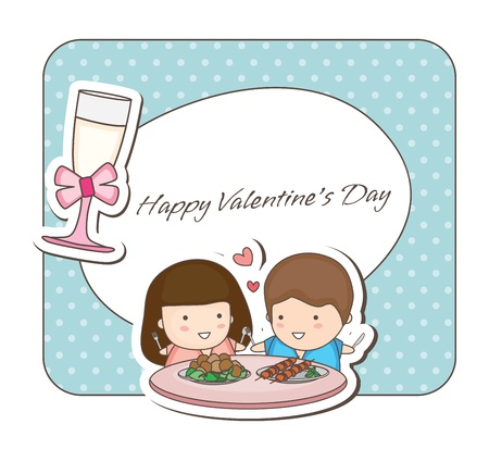Lovey couple frames -romantic dining Stock Vector - 16934669