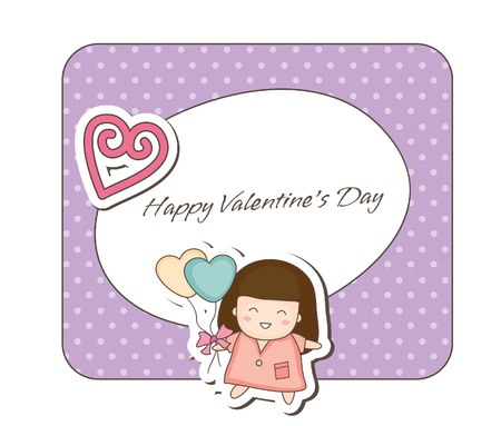 Lovey couple frames -girl holding balloons Vector