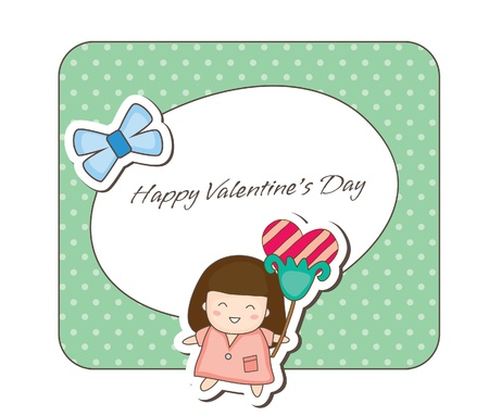 Lovey couple frames -girl holding flower Vector