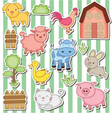 Happy farm animals clip art