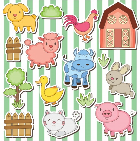 baby cartoon: Happy farm animals clip art