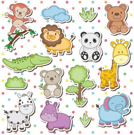 Happy wild animals clip art