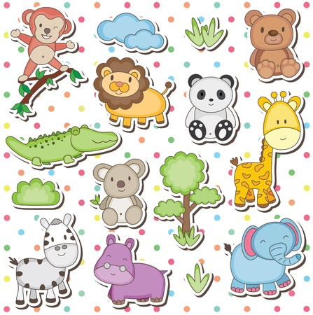 baby elephant: Happy wild animals clip art