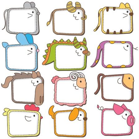 Chinese zodiac animal frames  Illustration