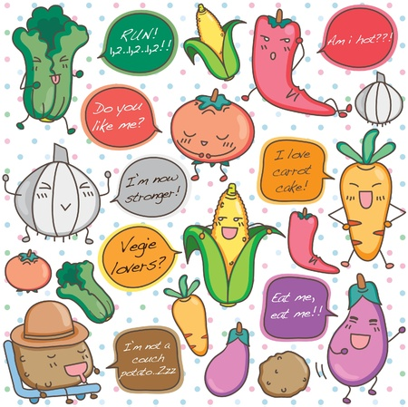 Cute humanised talking vegetable clip art