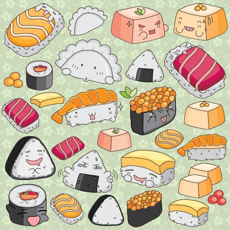Kawaii japanese cuisine clip art Vector