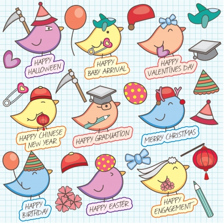 Cute birdy celebration clip art Vector