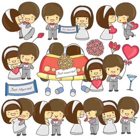 Happy wedding couple set Vector