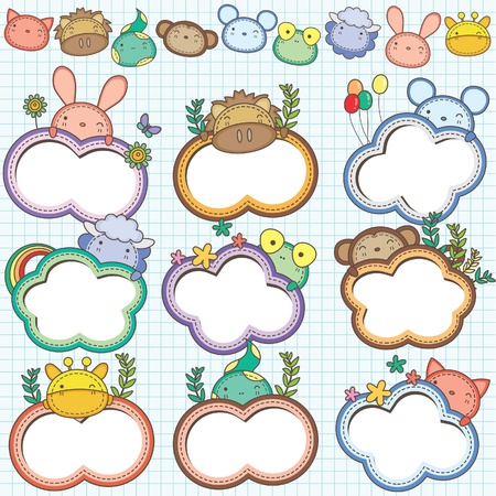Animal Cloud Frames Set 2  More animal frames are available  Vector