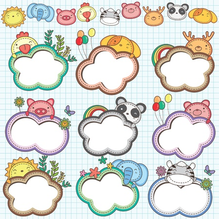 Animal Cloud Frames Set 1  More animal frames are available  Vector