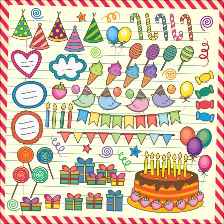 Fun Party Elements Clip Art Set Vector