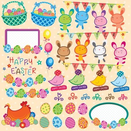 Happy Easter Elements Clip Art Vector