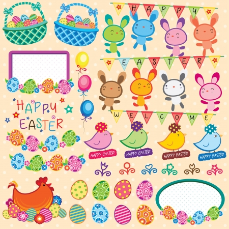 happy easter: Happy Easter Elements Clip Art