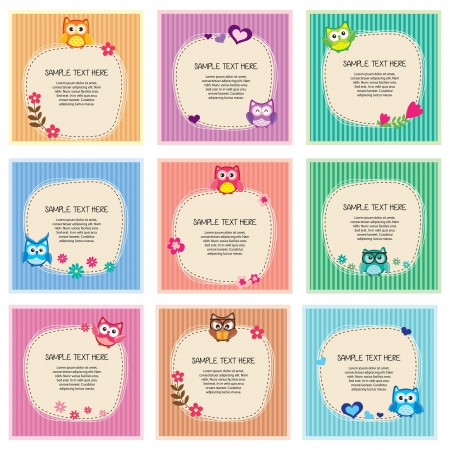Cute owl frames set Vector
