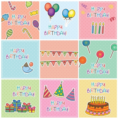 Birthday Cards Digital Set Vector