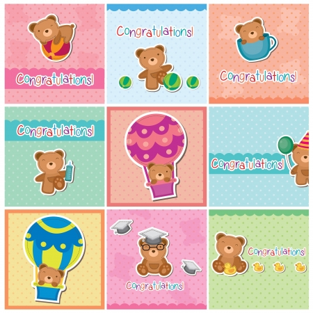 Cute teddy bear digital cards Vector