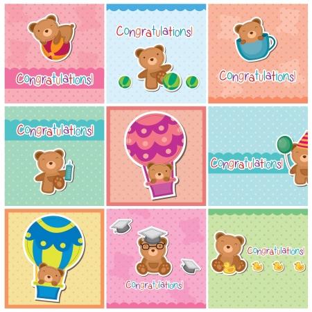 Cute teddy bear digital cards 免版税图像 - 18066470