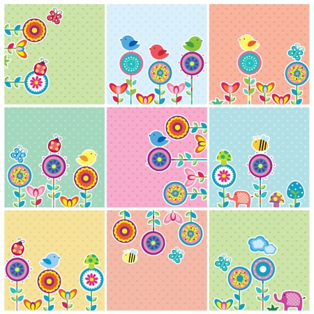 Cute Garden Floral Cards Set Vector