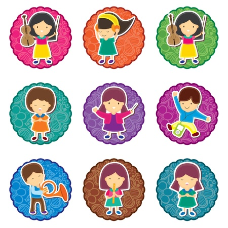 Music Kids Round Label Vector