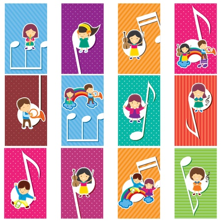 childrens playing: Happy Music Kids Illustration