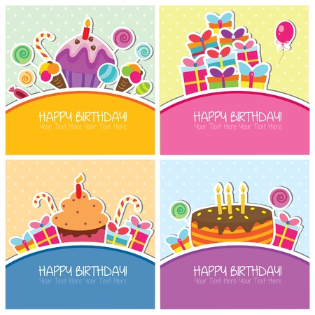 cute text box: Birthday cards set Illustration