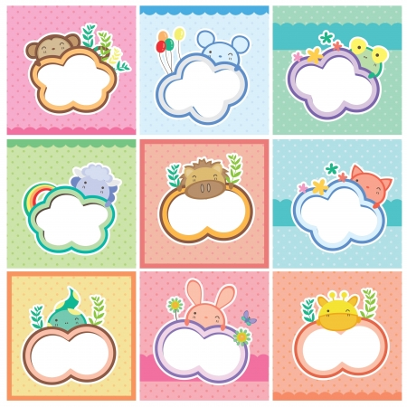 cute clipart: cute animal cards collection Illustration