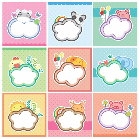 cute animal cards collection Vector