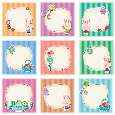 Sweet and cute easter cards Vector