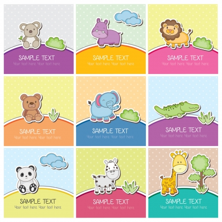 cute wild animals cards Vector